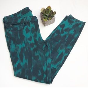 Express green/blue skinny jeans